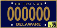 Delaware license plate from personal collection