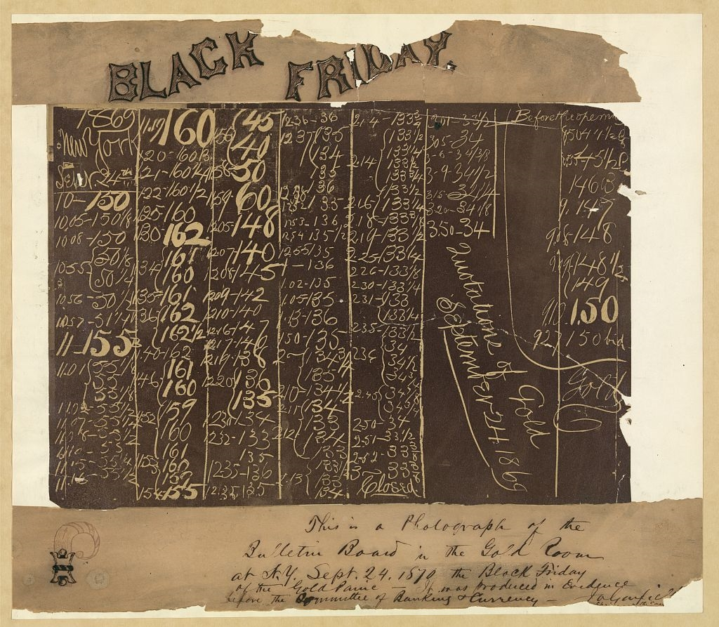 Photograph of the black board in the New York Gold Room, September 24, 1869, showing the collapse of the price of gold.