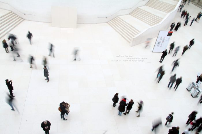 High angle photography of people in ground